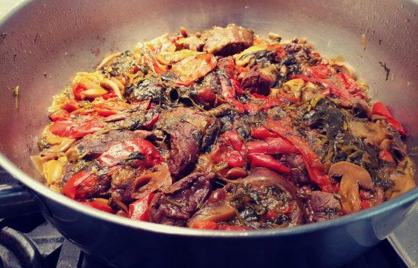 צלי בשר עם כורכום פטריות ועשבי תיבול