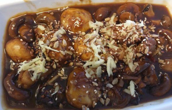 סלט פטריות בצ'ילי מתוק וטריאקי בטעם אסייתי